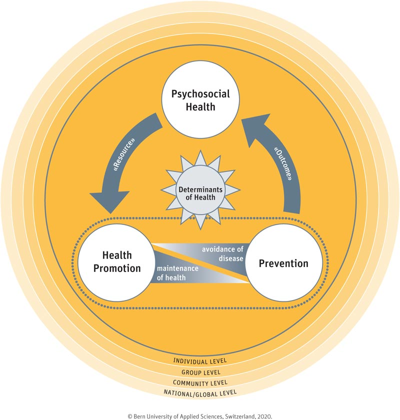 The Connection between Health Promotion, Prevention, and Psychosocial Health:  An Innovative Action Model